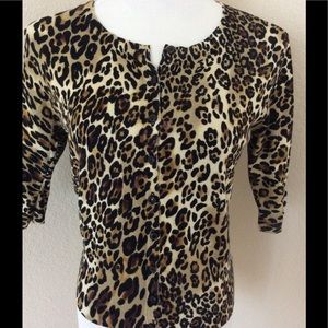 Cheetah print knit top fitted cardigan short slvs